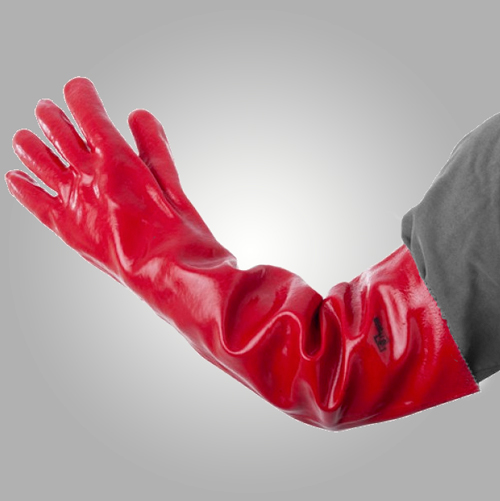 Guante PVC Rojo Entelado - Puño 60 cm